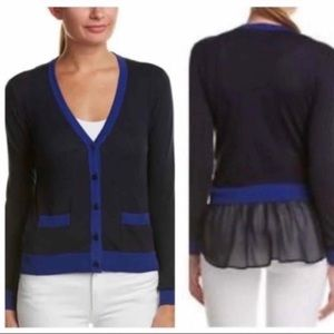 Cabi Michelle cardigan in cobalt and navy